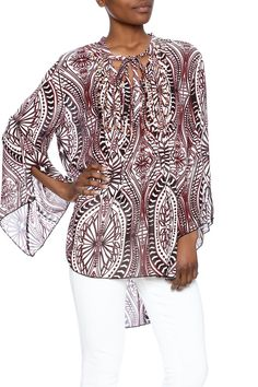 Long sleeve burgundy printedembellished tunic top with bell sleeves and neck tie.   Burgundy Top by Simi Sue. Clothing - Tops - Long Sleeve Dallas, Texas Texas