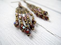 Bohemian Chandelier Earrings: Antique Brass with Czech Glass in Aubergine Sangria