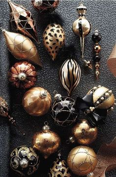 Ornaments in gold, silver, bronze and various other metallics.