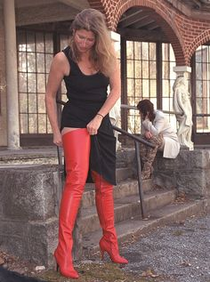 My red thigh high boots