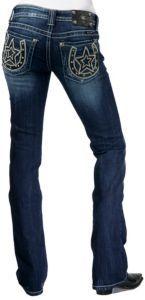 Miss Me® Ladies Dark Wash Black Leather Horseshoe & Star w/ Crystals Boot Cut Jean