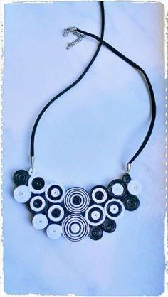 Colier alb si negru quilling Crafty, Jewelry, Fashion, Jewellery Making, Moda, Jewelery, Jewlery, Fasion, Jewels