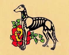 I created this sweet skeleton Greyhound / Whippet print, specifically for a beloved dogs altar or for those that just love Dia de los Muertos. To