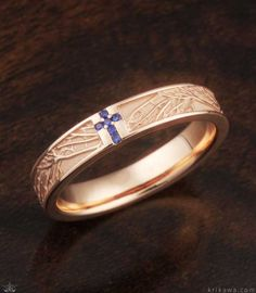 Tree of Life Cross Wedding Band with Stones. Symbolic of your loves's eternal growth and faith, this wedding band is custom made in the metal and stones you want!