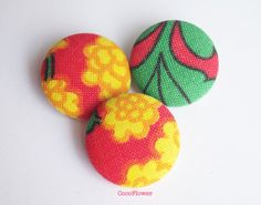 3 red yellow covered fabric buttons flower by CocoFlowerCraft
