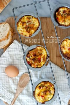 6 Easy Baked Egg Breakfast Cup Recipes. Made 1/1/13. Left out tomato, basil, and mustard from the ham, egg, & cheese cups recipe and used about 6 pieces of wheat bread.  6 eggs made us about 12 cups.