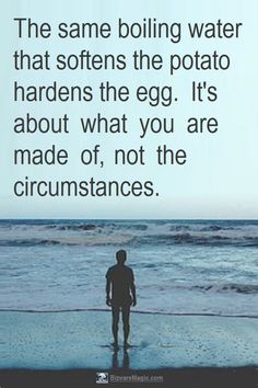 The same boiling water that softens the potato, hardens the egg. It's about what you are made of, not the circumstances. For more endurance quotes click this pin. Please Re-Pin. #LifePoem #quotes #inspirationalquotes #successquotes #quotestoliveby #quotablequotes #inspirational #inspiration #TheDragonflysKiss