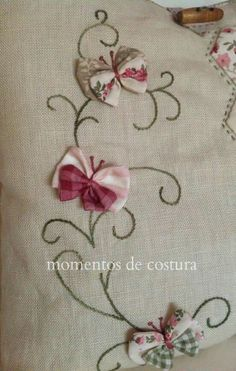 Scroll shaped embroidery done on quilt with fabric made butterflies sewn on each scroll design Silk Ribbon Embroidery, Embroidery Applique, Cross Stitch Embroidery, Embroidery Patterns, Machine Embroidery, Sewing Patterns, Fabric Crafts, Sewing Crafts, Sewing Projects