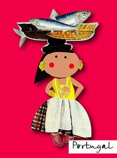 A doll with fish International Day, Vintage Travel Posters, Art Dolls, Projects To Try, Clock, Christmas Ornaments, Holiday Decor, Crafts, Traveling