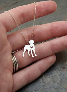 Weimaraner necklace sterling silver hand cut by JustPlainSimple