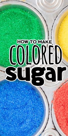 If you've been looking for a fun and easy way to spice up your baking, then look no further! This recipe will show you how to make color sugar with nothing more than 2 simple ingredients. It can be done in under five minutes and is perfect for any occasion. Skip the expensive colored sugar at the store and make your own with what you have on hand. Candy Recipes, Lunch Recipes, Easy Dinner Recipes, Appetizer Recipes, Holiday Recipes, Great Recipes, Amazing Recipes, Sanding Sugar Recipe, Colored Sugar