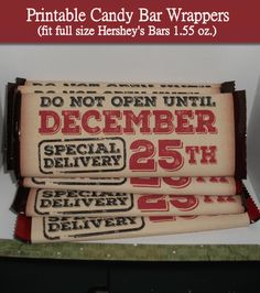 Vintage Christmas candy bar wrappers. These are so easy to make you can stock up and have extra gifts in a jiffy.