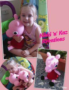 Crocheted Peppa Pig Doll by KikkinKazKreations on Etsy