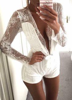 #winter #fashion / White Lace Playsuit