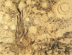 The drawing Cypresses in Starry Night. Shchucev State Museum of Architecture. A reed pen copy executed by Van Gogh after the painting in Originally held at Kunsthalle Bremen, today part of the disputed Baldin Collection. Van Gogh Drawings, Van Gogh Paintings, Ink Pen Drawings, Vincent Van Gogh, Scientific Drawing, Oil Painting Lessons, Jackson Pollock, Art World, Online Art
