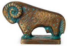 Antique solid bronze ram with gorgeous verdigris. From the estate of Doe Avedon.