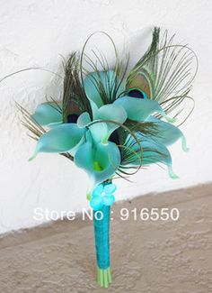Free Shipping Blue Real Touch Calla Lily Wedding Bouquet  Light Teal Blue Calla Lilies  with Peacock Feathers Bridal Bouquet