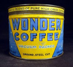 RARE WONDER COFFEE CAN WITH LID 1 LB ADVERTISING TIN 1930'S COTTAGE DISPLAY