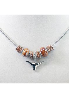 Texas Longhorns Beaded Womens Necklace   Texas Longhorns Womens Necklace