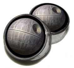 "Death Star Plugs - 1 Pair (2 plugs) - Sizes 0g, 00g, 7/16"", 1/2"", 9/16"", 5/8"", 3/4"", 7/8"", 1"" - Made to Order"