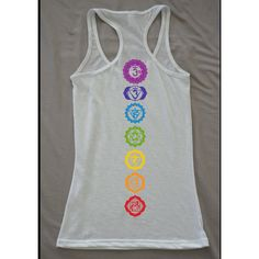 Chakra Yoga Tank featuring polyvore, fashion, clothing, activewear, activewear tops, black, tops, women's clothing and yoga activewear