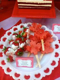 Cool watermelon and strawberry treats at a Canada Day party!  See more party ideas at http://CatchMyParty.com!