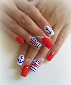 Adorably Amazing Independence Day 4th July Acrylic Nail Art Design Ideas