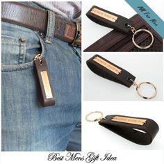 Unique Gifts for Men/ Latitude Longitude GPS Leather Key chain