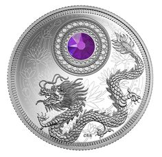 Pure Silver Coin made with Swarovski® crystal - Birthstones: September - Mintage: June Gemstone, Swarovski Crystals Price, Canadian Coins, July Birthstone, Effigy, Rare Coins, Coin Collecting, Meaningful Gifts, Silver Coins