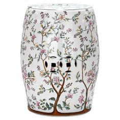 Poised and polished, the Blooming Tree Garden Stool offers simple elegance for your outdoor space. Made of glazed ceramic with a lovely floral motif in shades of pink and green. This piece is the perfect extra seating or side table for your patio. Blooming Trees, Flowering Trees, Outdoor Stools, Indoor Outdoor, Outdoor Living, Ceramic Garden Stools, Ceramic Stool, Blossom Garden, Tree Patterns