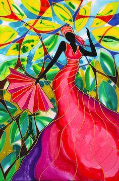 Red Painting - Lilys Red Dress On Caye Caulker by Lee Vanderwalker Black Girl Art, Black Women Art, Black Art, Caye Caulker, Ebru Art, African Art Paintings, Haitian Art, Caribbean Art, Africa Art