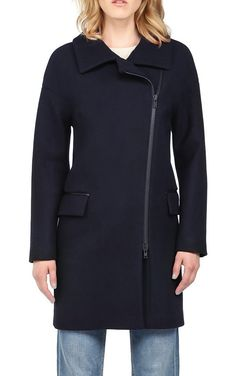 Soia kyo long lisanne wool coat with leather trim