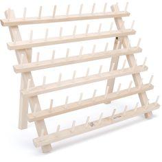 <li>Mini mega rack holds 60 thread spools <li>Thread rack has flip-out leg and keyhole slots <li>Thread rack boasts quality hardwood construction Diy Rings Organizer, Wooden Organizer, Organizers, Coin Couture, Spool Holder, Thread Holder, Key Holders, Wooden Rack, Wooden Spools
