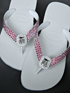a60d9133e Custom Flip Flops Beach Bride Octagon Rocks w  Swarovski Crystal Havaianas  or Cariris Wedge Baguette Jewel Bling Wedding Thong Shoes