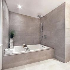 gray wall indent gray shower tiles soaking tub with shower combo drop in tub kohler laminar tub of Magnificient Soaker Tub with Shower Ideas Soaker Tub With Shower, Small Soaker Tub, Walk In Tub Shower, Bathtub Shower Combo, Bathroom Tub Shower, Small Tub, Bathroom Renos, Shower Tiles, Small Baths
