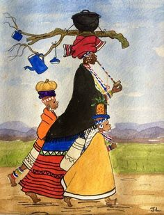 Xhosa Attire, African Traditional Wear, African Clothes, Mothers Dresses, Traditional Paintings, African Prints, Black Art, African Fashion, Art Supplies