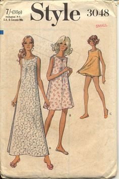1970s Nightgown Pattern Style 3048 Misses by CynicalGirl on Etsy, $8.00