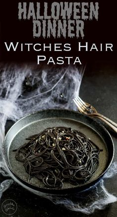 This Witches hair pasta is the perfect dinner for Halloween night. Jet black strands of squid ink pasta dressed with a garlic and chilli oil. Delicious, simple and dramatic. And there is plenty of garlic in there to keep the vampires at bay....well it is Halloween! Recipe from Sprinkles and Sprouts   Delicious food for easy entertaining.
