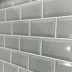 Metro Grey Gloss Bevelled Brick wall tile   10x20cm Ceramic Planet Metro Tiles Kitchen, Brick Tiles Bathroom, Bathroom Wall, Wall Tiles, Kitchen Reno, Bathroom Ideas, Bathroom Design Inspiration, Smooth Walls, Grey Tiles
