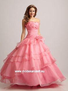 Abendkleid Ballkleid in Rosa mit Raffungen