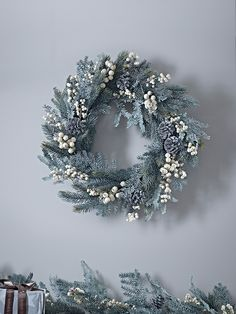 NEW Winter Berry Wreath - Large - Wreaths and Garlands - It's Never Too Early for Christmas - Indoor Living Woodland Christmas, Magical Christmas, Modern Christmas, Christmas Colors, Christmas Crafts, Christmas Decorations, Christmas 2017, White Christmas, Christmas Ideas