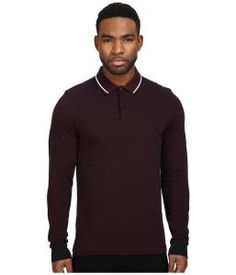 Fred Perry Long Sleeve Twin Tipped Shirt (Mahogany Black Oxford/White/Black) Men's Clothing