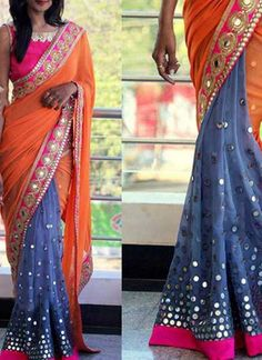Buy online shopping sarees at - Banglore.Half n half sarees designed with embroidery work in georgette fabric. Half Saree Designs, Saree Blouse Designs, Indian Wedding Outfits, Indian Outfits, Indian Clothes, Fancy Sarees, Party Wear Sarees, Indian Attire, Indian Wear