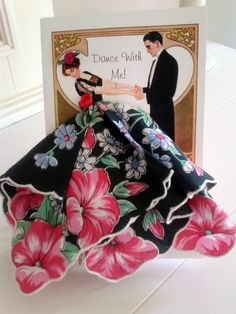 Dance with Me Keepsake Hanky Card This beautiful card is 5 Handkerchief Crafts, Scarf Display, Dress Card, Jellyroll Quilts, Art Deco, Vintage Handkerchiefs, Diy Crafts For Gifts, Greeting Cards Handmade, Paper Dolls