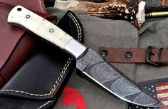 CFK USA Custom Handmade San Mai Damascus Exotic Camel Bone Hunter Small Knife | eBay