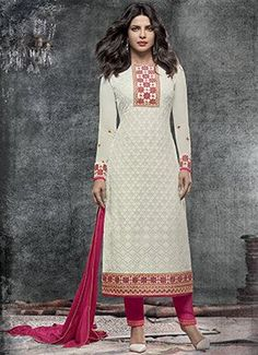 Priyanka Chopra Off White Straight Pant Suit