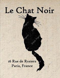 Digital Download for Iron on Transfer Black Cat Le Chat Noir