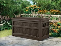 Suncast 73 Gallon Resin Wicker Patio Storage Box with Wheels and Seat - Water Resistant Outdoor Storage Container for Furniture and Yard Tools - Store Items on Deck, Porch, Yard - Mocha Storage Box On Wheels, Outdoor Storage Box, Patio Storage Box, Patio Storage, Resin Wicker, Cool Deck, Yard Tools, Storage Containers, Yard Storage Box