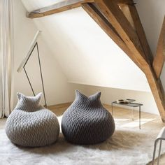 Slumber Poufs by Aleksandra Gaca. Love the wood beams too. I love the word Pouf. Anything named Pouf is cute. Furniture Decor, Furniture Design, Cat Furniture, Pouf Design, Bag Design, Design Ideas, Deco Design, Home And Deco, My New Room