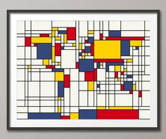 Map of the World Map in the style of Piet Mondrian, Art Print 18x24 inch (202)